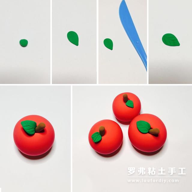 取一块儿绿色粘土捏出树叶的形状,取出压痕刀在其上面压出树叶的纹路