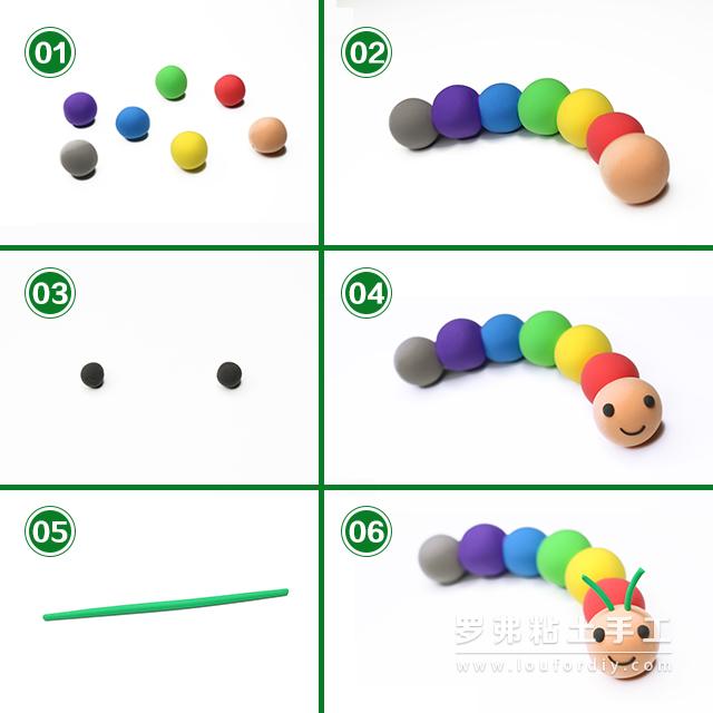 今天,老师带领小朋友们做一个非常简单可爱的粘土毛毛虫。  毛毛虫(mao二声mao二声chong二声) 英语:caterpillar  首先,我们取出一些各色的粘土分别揉成粘土小圆球, 将这些小圆球排列粘合成一个彩色粘土链。 再取黑色粘土揉搓成两个小圆球和一个细条粘贴到最前面的圆球上作为小毛毛虫的眼睛和嘴巴。 之后,再取绿色粘土揉成小细条切作两段安在刚刚装眼睛和嘴巴的那个圆球上作为触角。 这样,一个简单可爱的粘土小毛毛虫就完成了。 转载至: