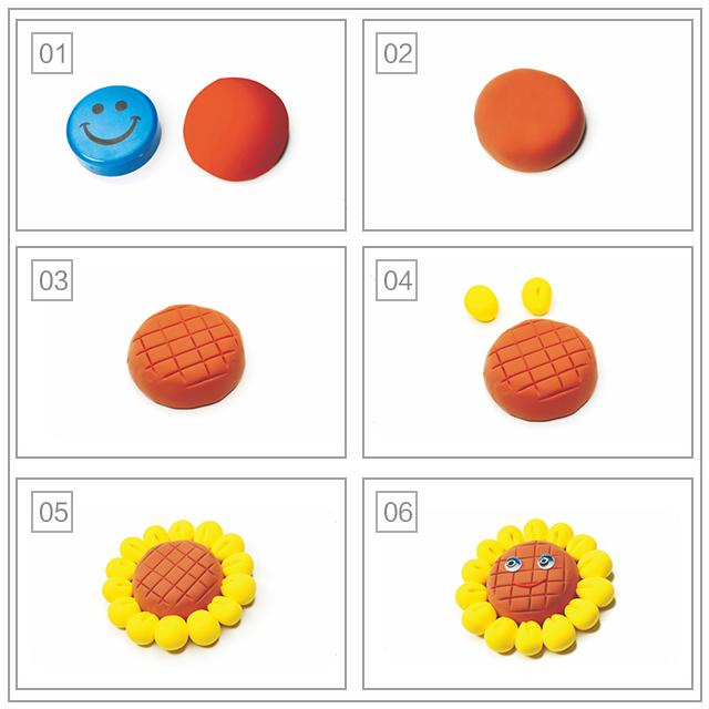 今天,我们来做一个向日葵冰箱贴。  首先,我们准备好一块儿磁铁和一些橘色的粘土将橘色的粘土制成粘土片将粘土片包裹在磁铁上, 用压痕刀在磁铁的粘土上刻出方格作为葵花盘, 取黄色粘土做成水滴状并用压痕刀在上面刻出压痕作为花瓣, 做出一周花瓣粘贴在葵花盘周围,为葵花盘粘上眼睛和橘色粘土制成的细条嘴巴。葵花冰箱贴就完成啦!