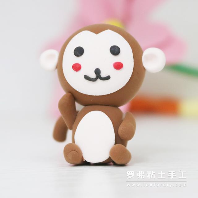萌萌的超轻粘土小猴子动物制作教程图片